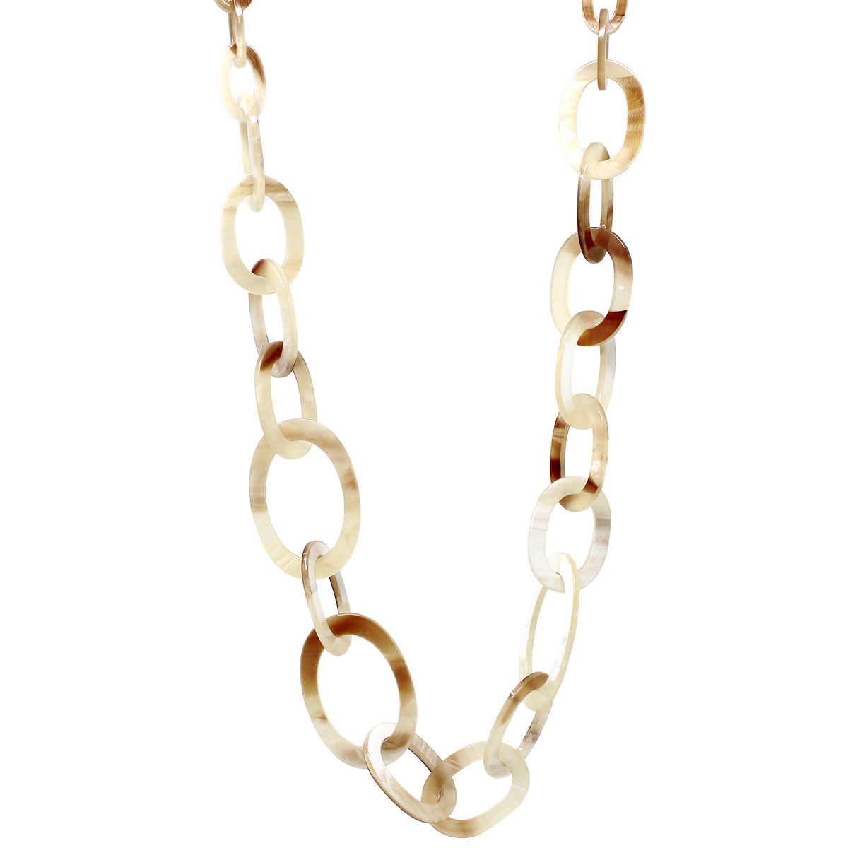 Textured Oval Acetate Linked Long Necklace