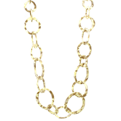 Textured Acetate Hoop Linked Long Necklace