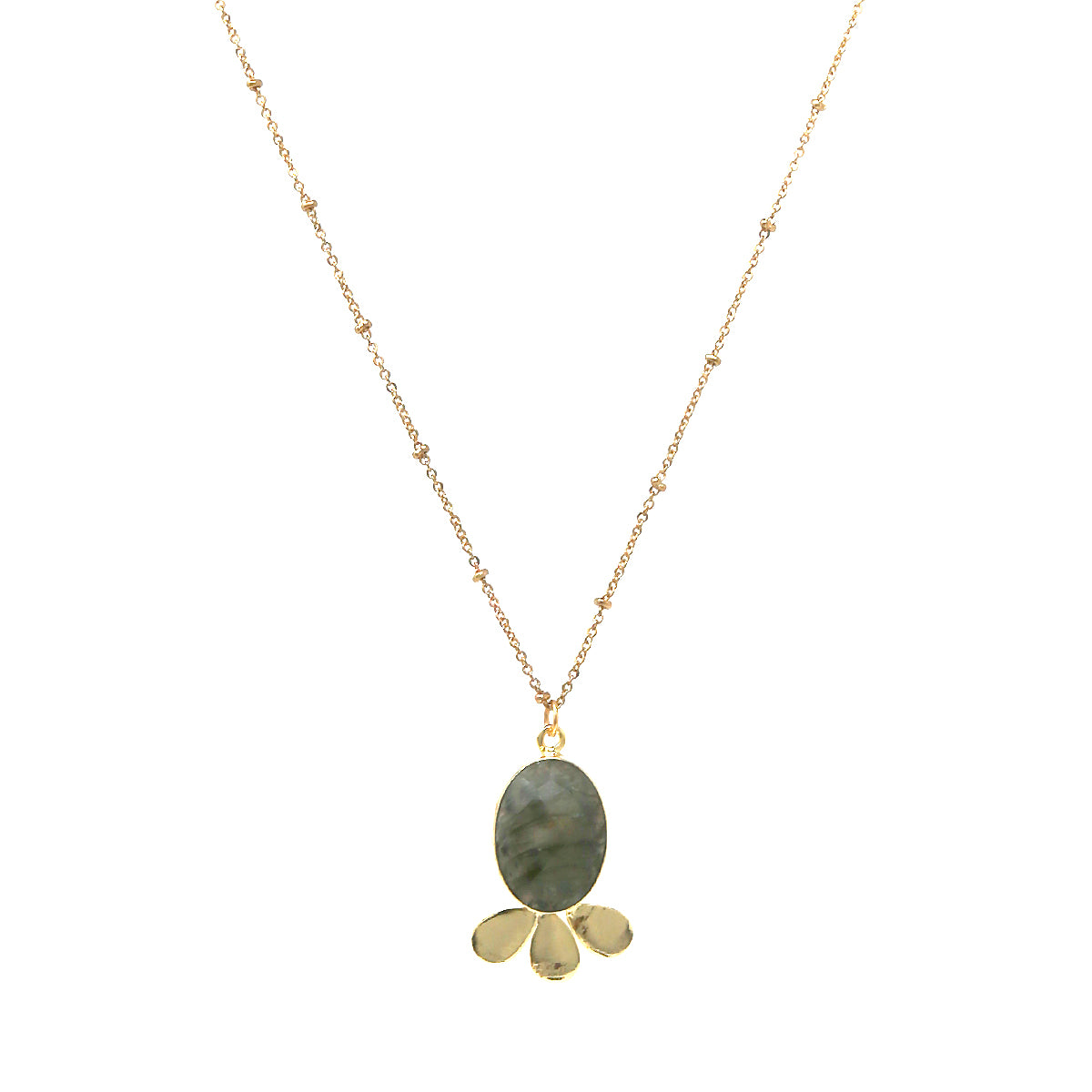 Faceted Oval Natural Stone Pendant Long Necklace