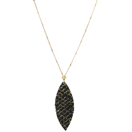 Leaf Shape Textured Genuine Leather Pendant Long Necklace
