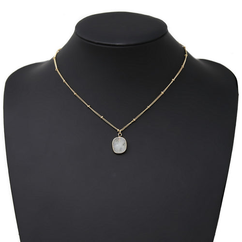 Natural Stone Pendant Simple Chain Short Necklace