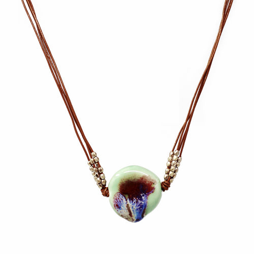 Acrylic Pour Glass Stone Pendant Multi Strand Leather Cord Necklace