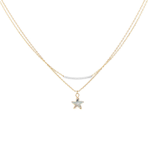Shell Texture Star With Bar Pendant Layered Short Necklace