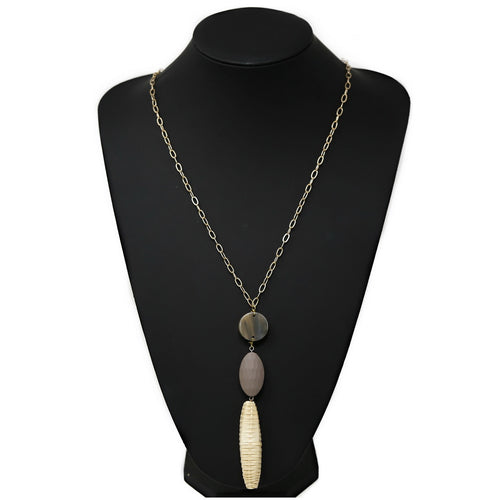 Acetate / Wood / Straw Pendant Long Chain Necklace