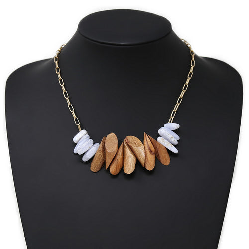 Natural Stone And Wood Beaded Short Necklace