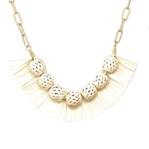 Weave Texture Ball With Raffia Fringe Short Necklace