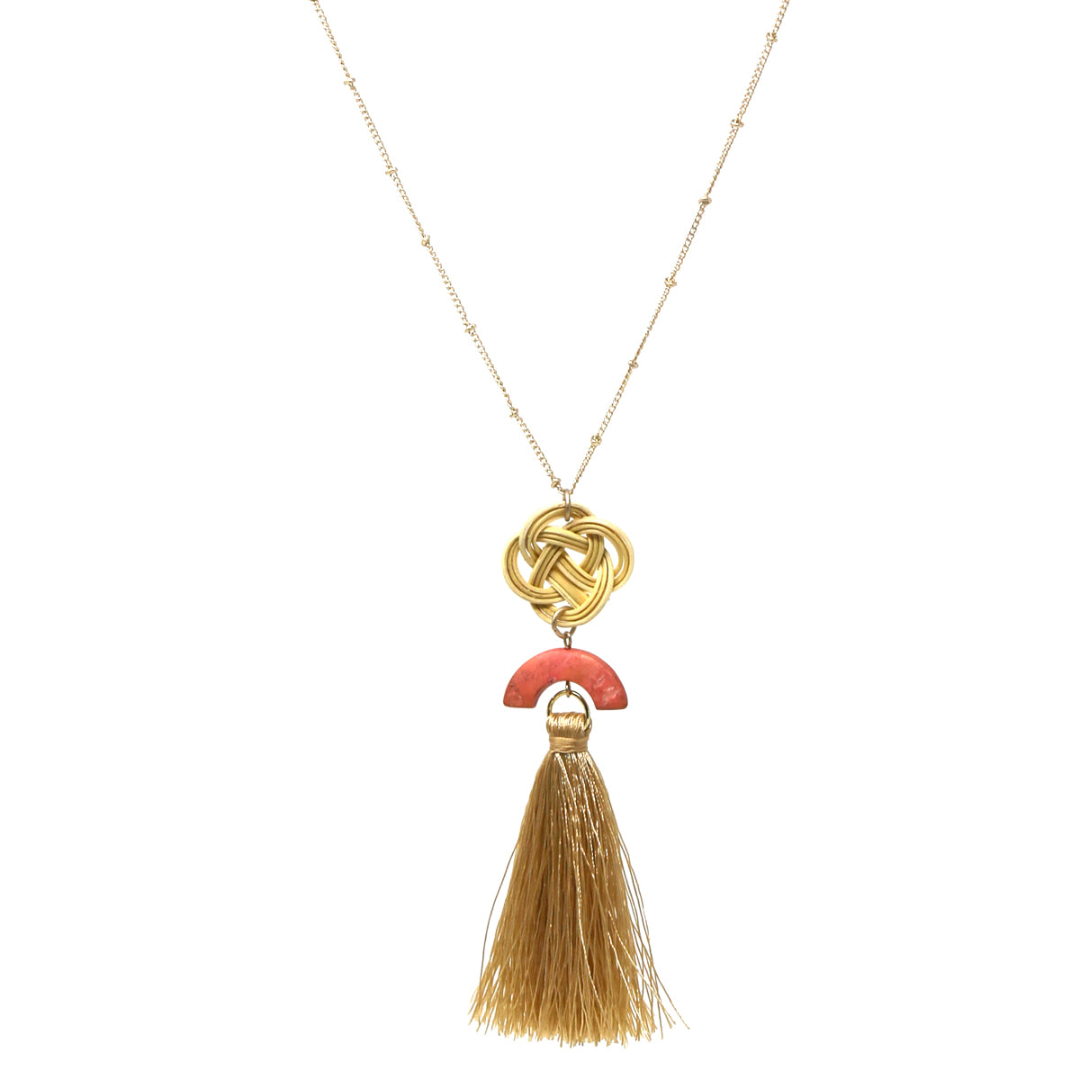 Knotted Rattan Wood Pendant Tassel Drop Long Necklace