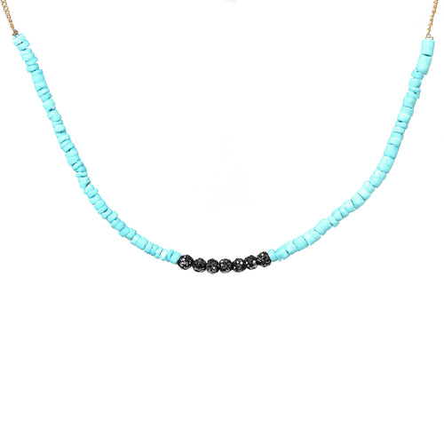 Rhinestone Pave Ball With Chip Beaded Short Necklace