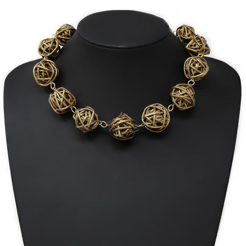 Rattan Ball Beaded Short Necklace