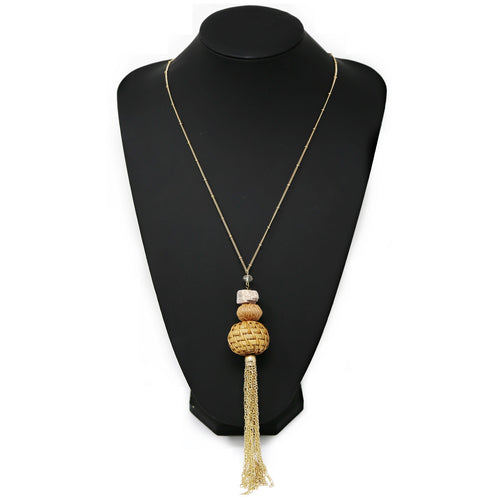 Rattan Ball With Chain Tassel Long Necklace