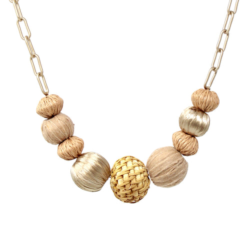 Rattan With Raffia Wrapped Ball Short Necklace
