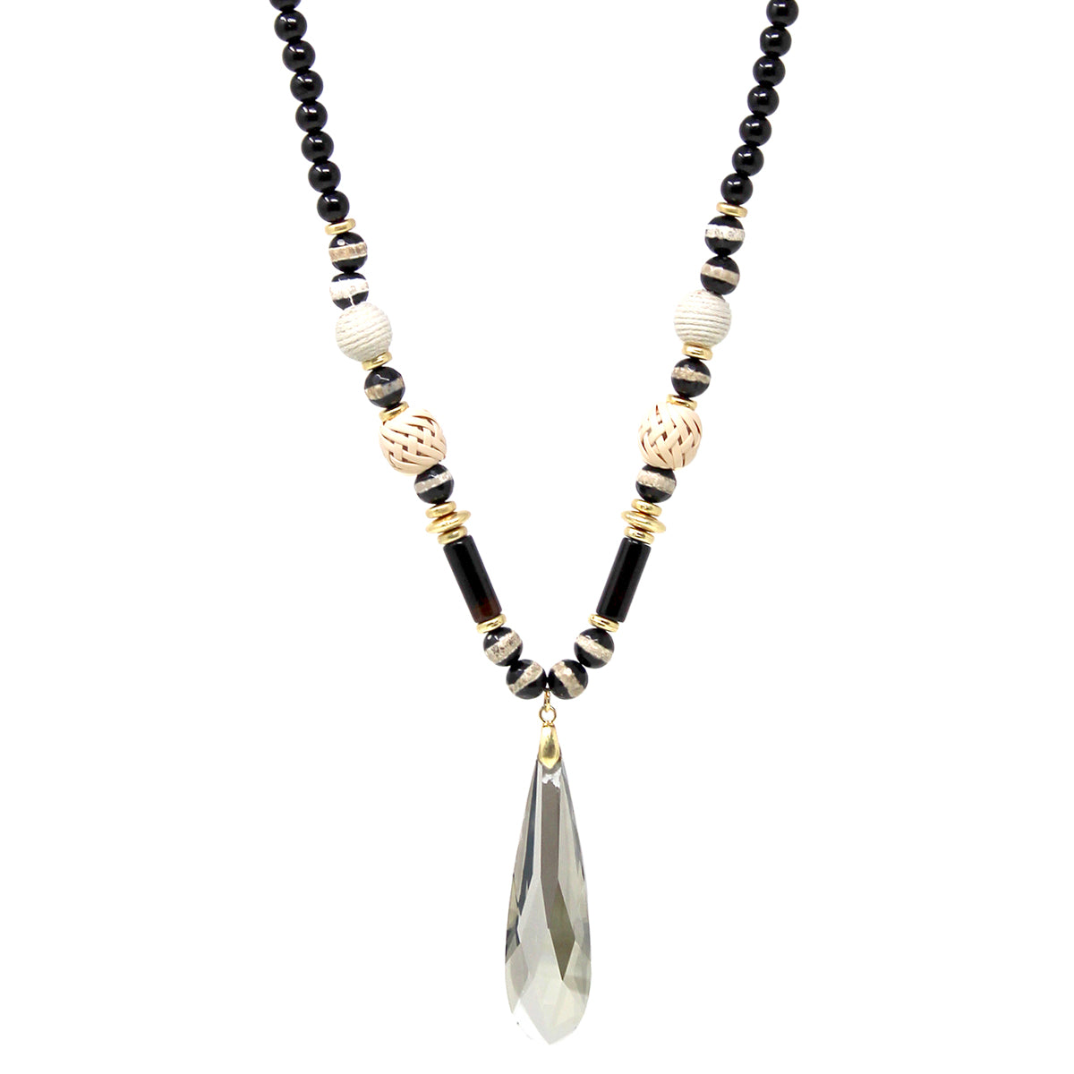 Teardrop Glass Stone Pendant With Natural stone Beaded Long Necklace