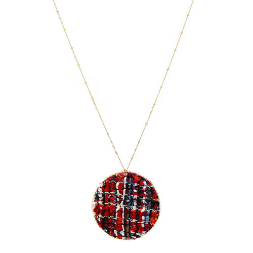 Tweed Disc Pendant Long Chain Necklace