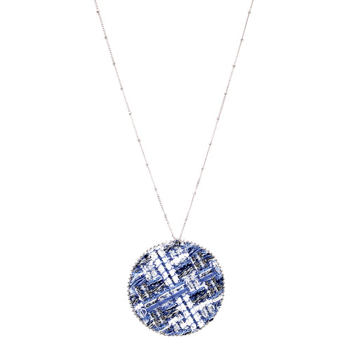 Tweed Fabric Disc Pendant Long Necklace