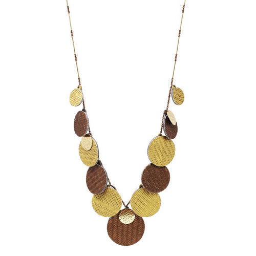 Two Tone Gradual Straw Disc Long Necklace