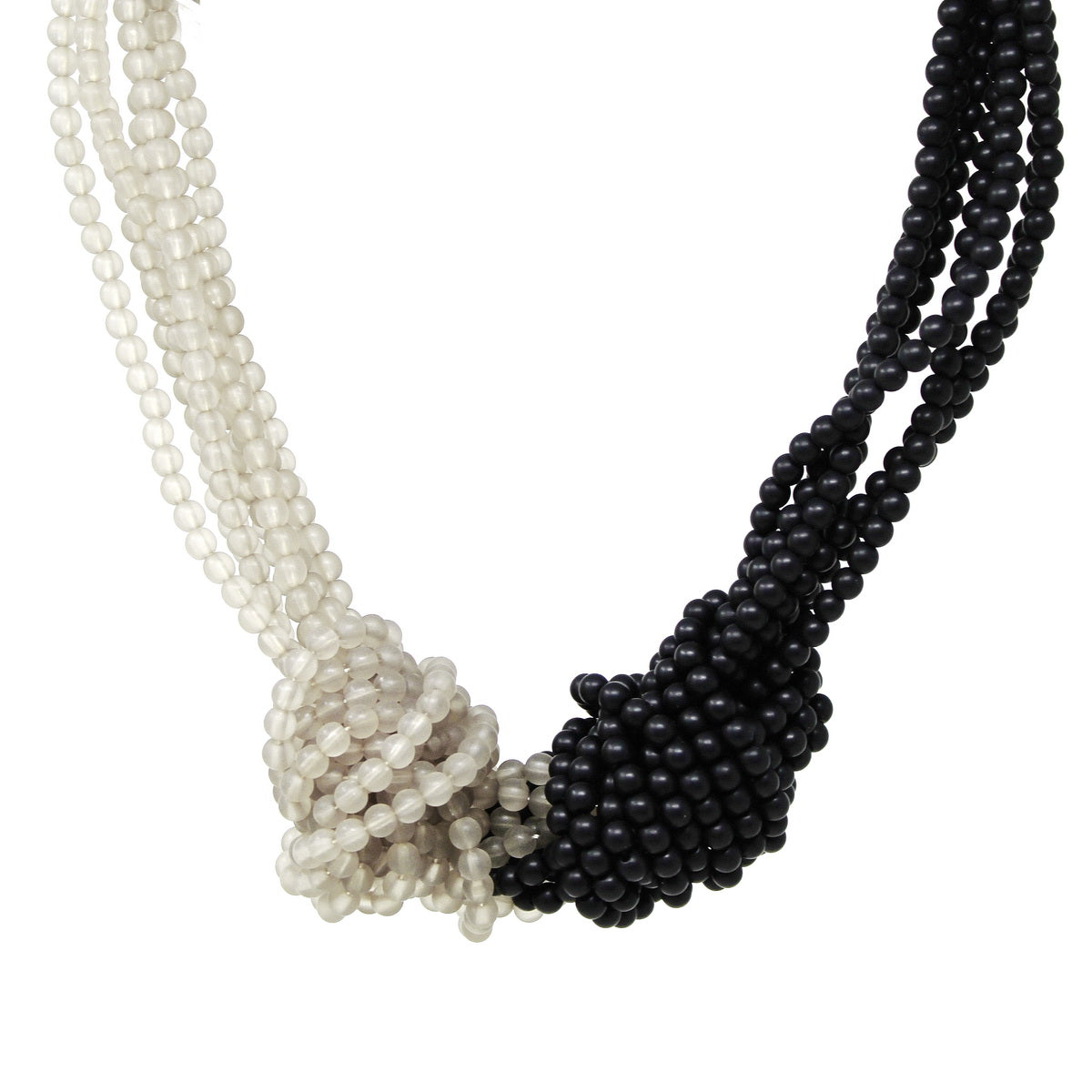 Two Tone Beaded Knot Short Necklace