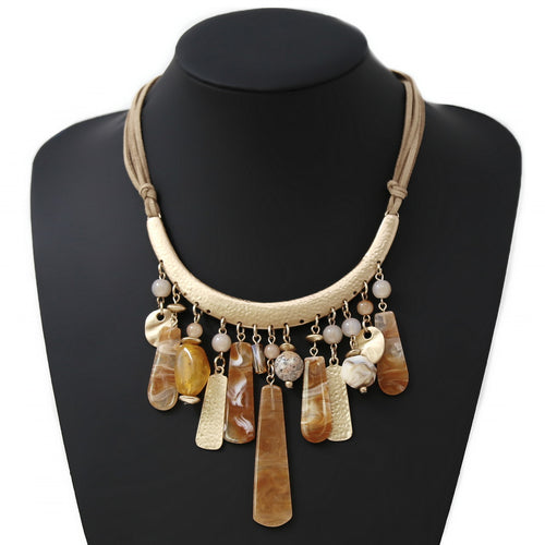 Acetate Bar Multi Charm Leather Cord Necklace