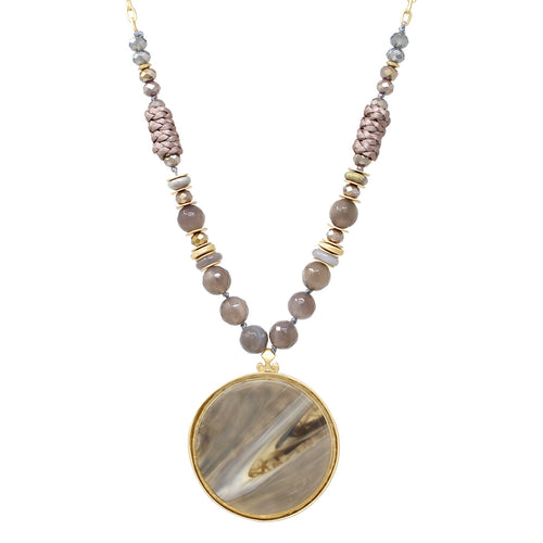 Acetate Disc Pendant With Glass Beaded Necklace