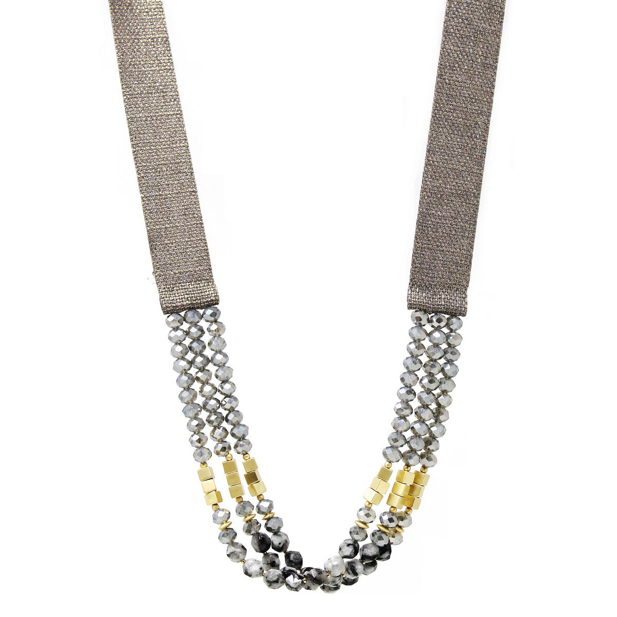 Glass And Metal Cube Beaded Thick Ribbon Long Necklace
