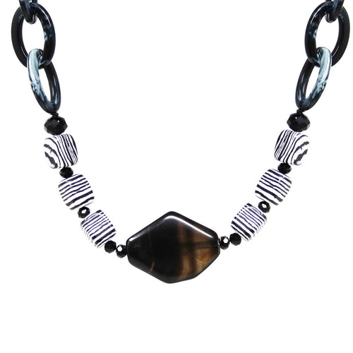 Natural Stone Bead And Acetate Link Short Necklace