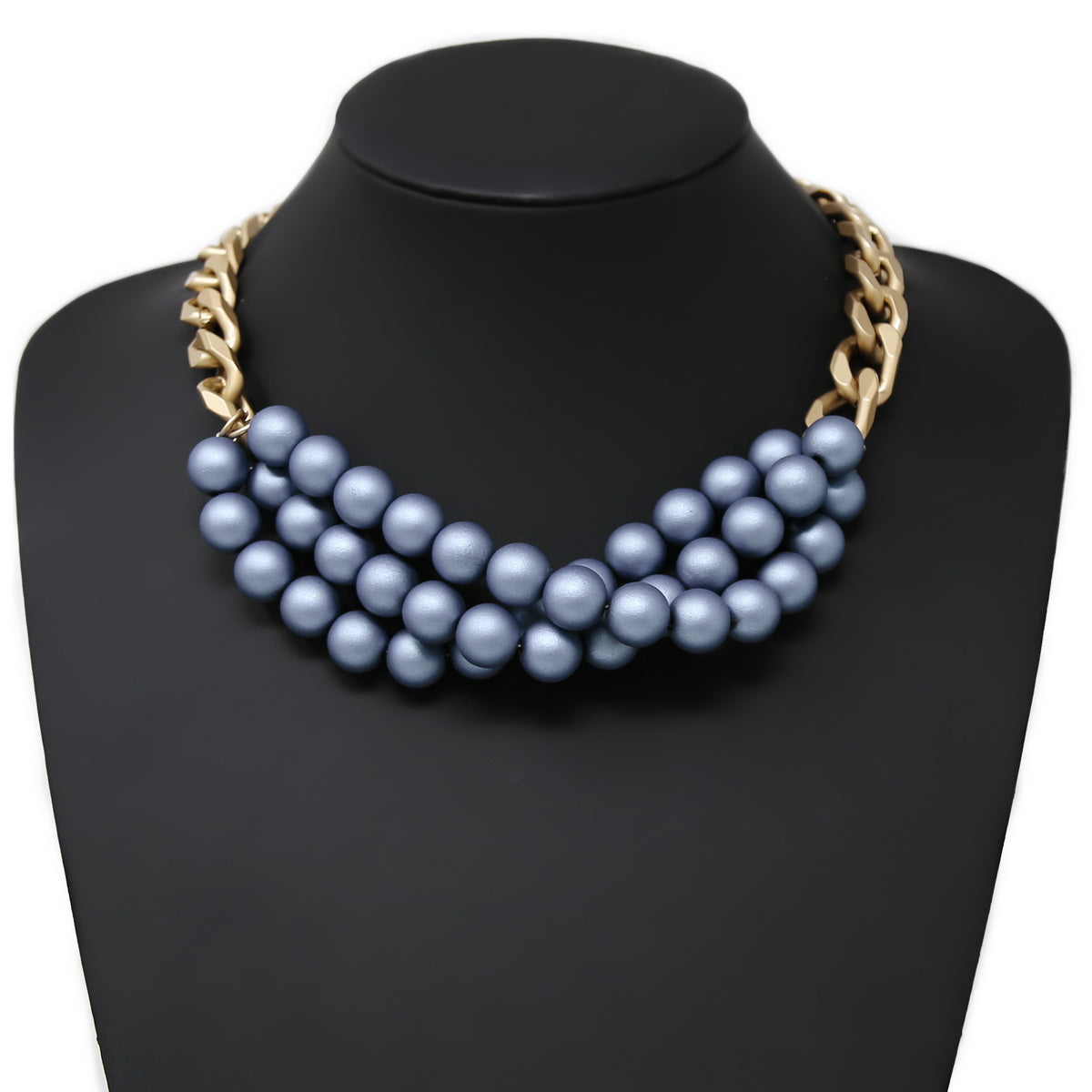 Matte Ball Beaded Chunky Chain Short Necklace