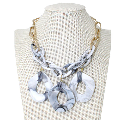 Texture Acetate Chain Linked With Disc Drop Short Necklace