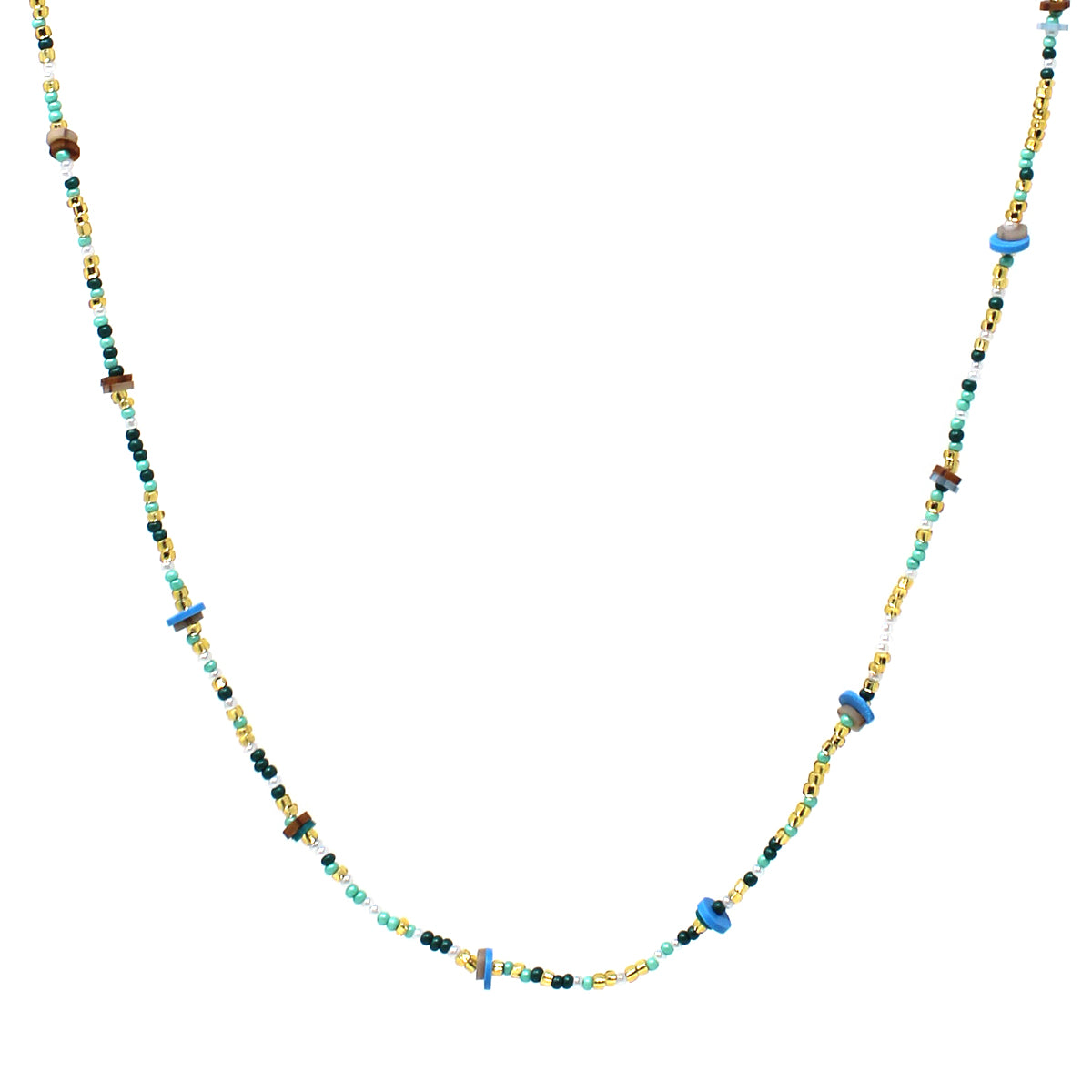 Rubber Disc Bead With Seed Beaded Long Necklace