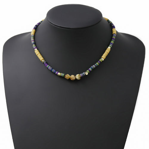 Natural Stone And Rubber Disc Beaded Short Necklace