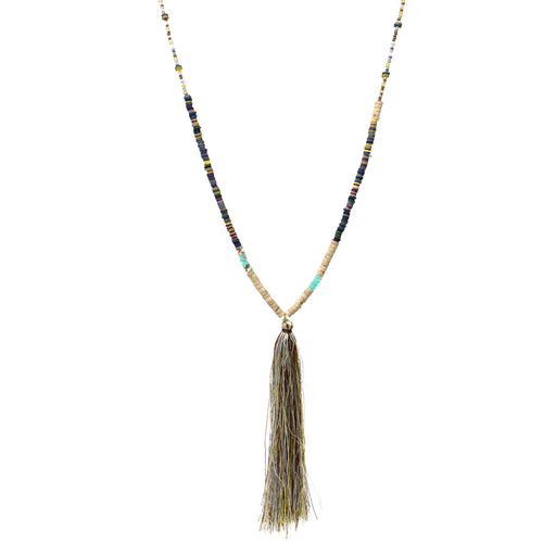 Tassel Pendant With Natural Stone And Rubber Disc Beaded Long Necklace
