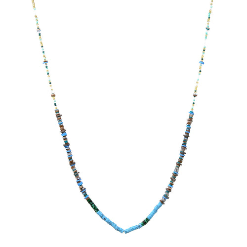 Natural Stone And Rubber Disc Beaded Long Necklace