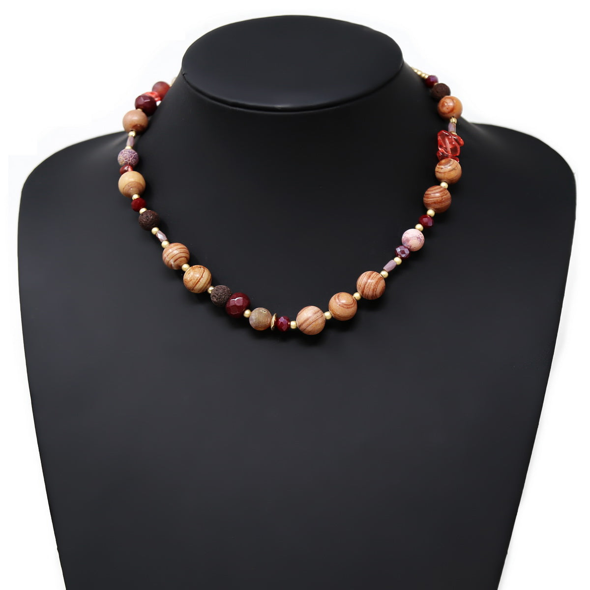 Natural Stone And Glass Beaded Short Necklace