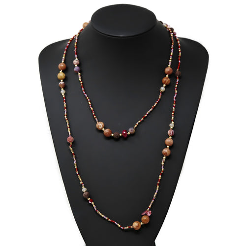 Natural Stone And Seed Beaded Long Wrap Necklace