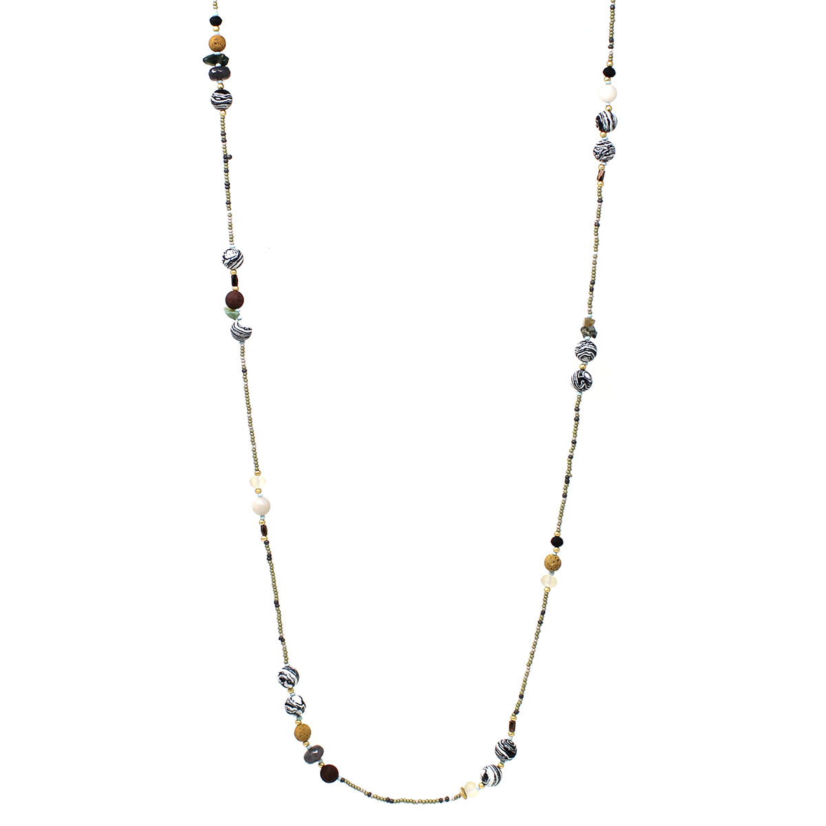"Natural Stone With Seed Beaded Long Necklace (48"")"