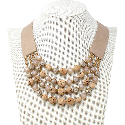 Glass Bead With Cork Beaded Multi Layer Short Necklace