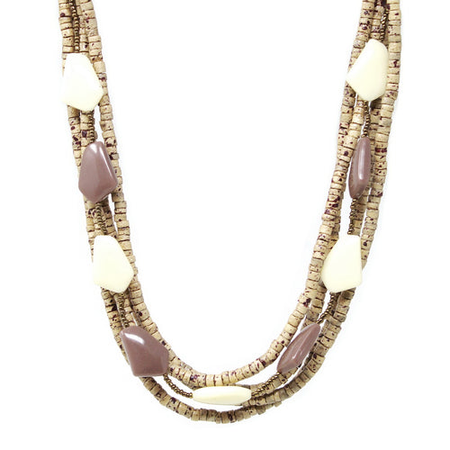 Acetate And Wood Beaded Multi Strand Short Necklace