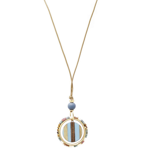 Acetate Disc With Shell Chip Trim Pendant Long Cord Necklace