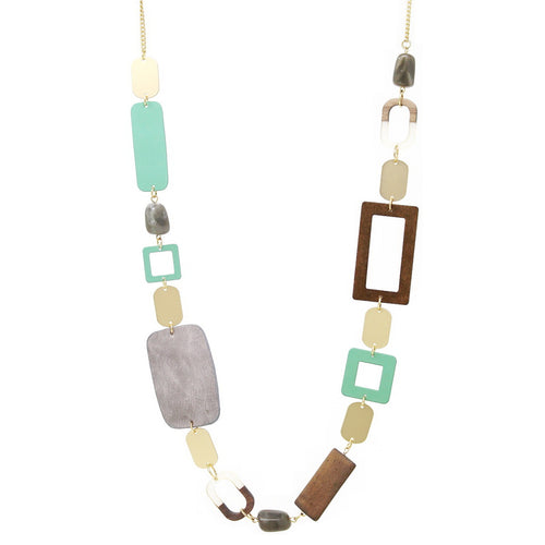 Wood / Leather / Metal / Acetate Rectangular Shape Linked Long Necklace