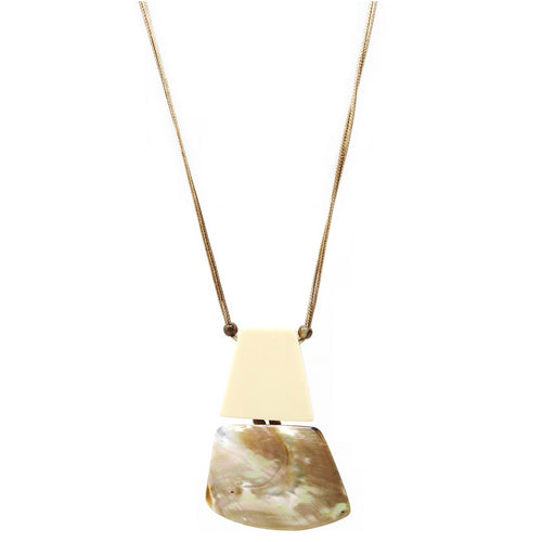 Chunky Shell Covered Acetate Pendant Long Cord Necklace
