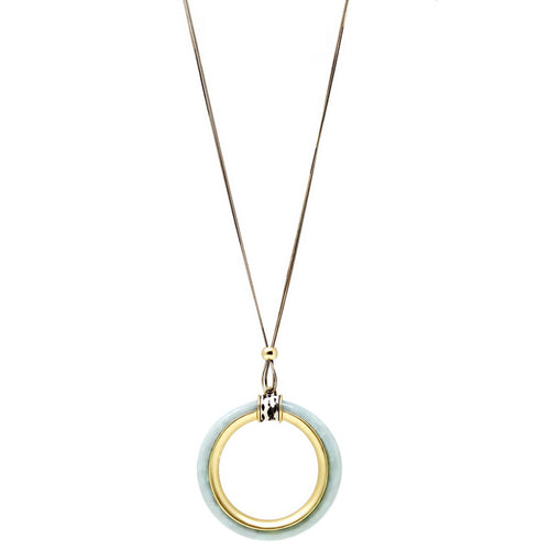 Metal Trimmed Chunky Acetate Hoop Pendant Long Chain Necklace