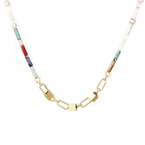 Metal Cube Charm Glass And Semi Precious Stone Beaded Short Necklace