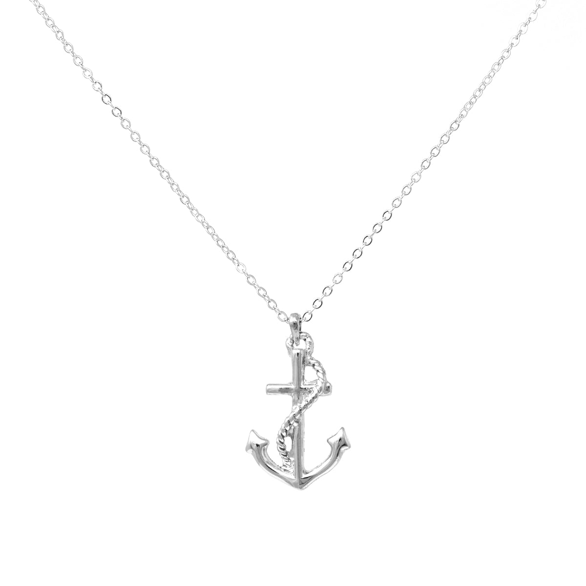 Rope Wrapped Anchor Pendant Simple Chain Short Necklace