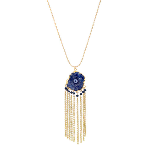 Natural Stone Pendant With Tassel Fringe Long Necklace