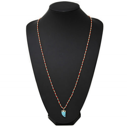Natural Stone Mini Pendant Seed Beaded Long Necklace