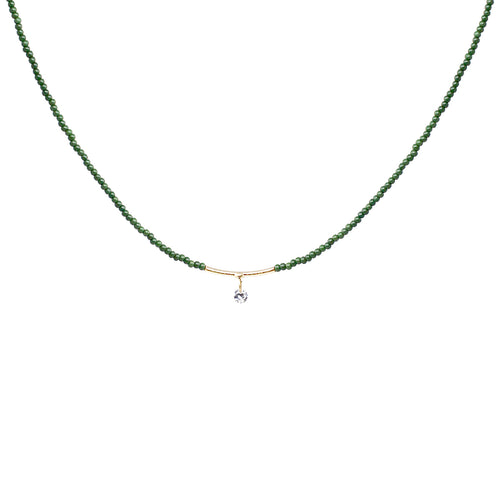 Cubic Zirconia Pendant With Seed Beaded Short Necklace