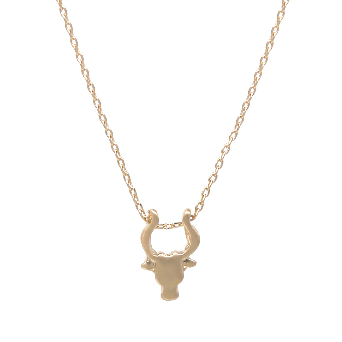 Buffalo Head Satin Finished Pendant Simple Chain Short Necklace