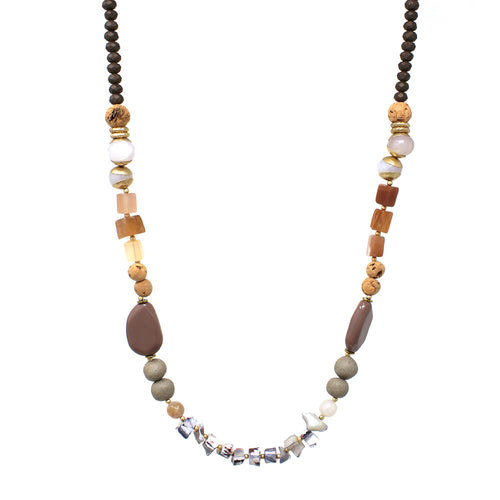 Natural Stone With Matte Finished Glass Beaded Long Necklace