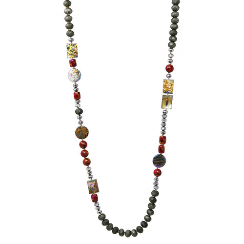 Natural Stone / Shell Plate /Glass Beaded Long Necklace