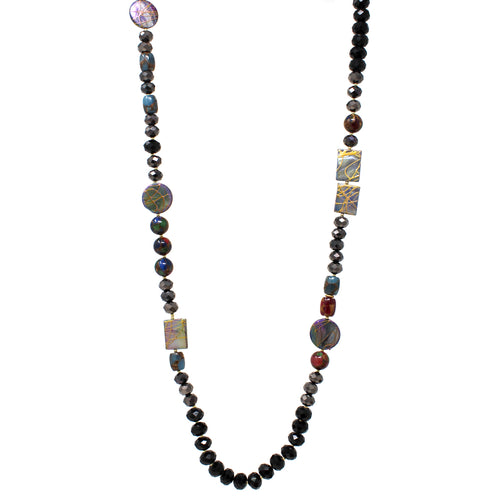 Natural Stone With Glass Beaded Long Necklace