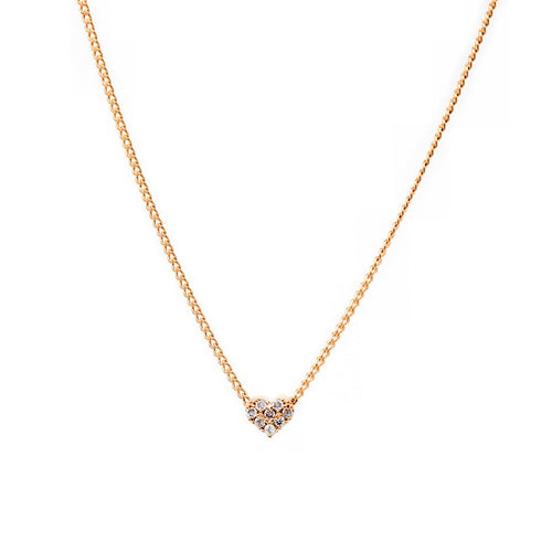 CZ Paved Mini Heart Pendant Simple Chain Necklace