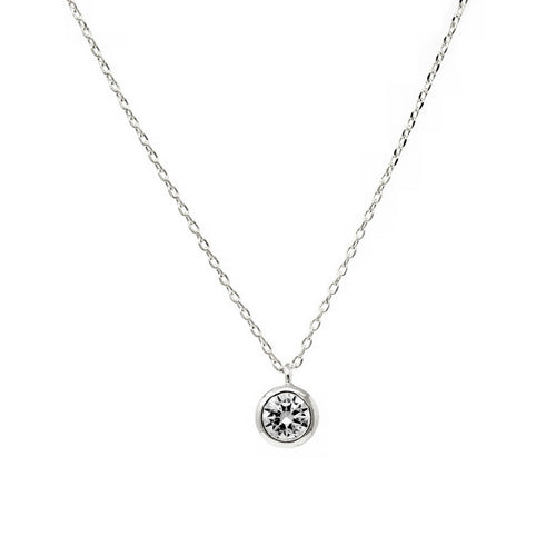 Cubic Zirconia Stone Pendant Simple Chain Necklace